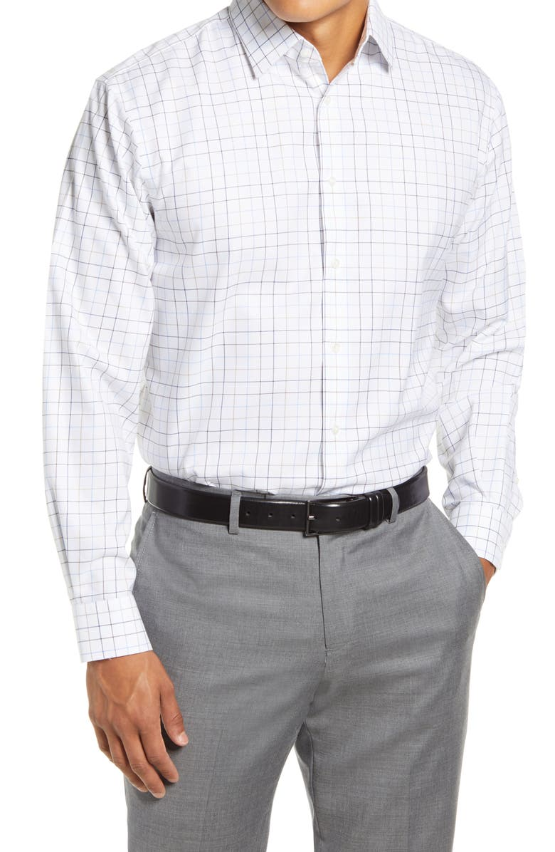 NORDSTROM MEN'S SHOP Nordstrom Traditional Fit Non-Iron Windowpane Stretch Dress Shirt, Main, color, 230