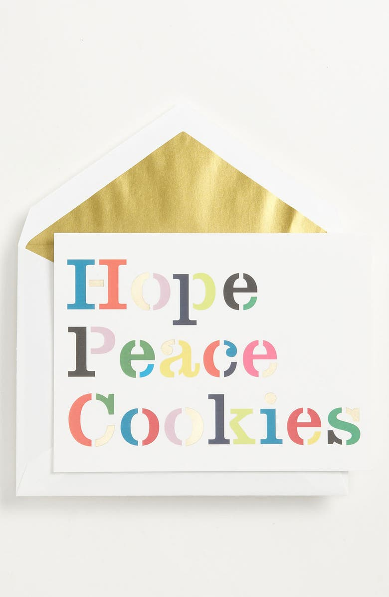 KATE SPADE NEW YORK 'hope peace cookies' foldover note cards, Main, color, 960