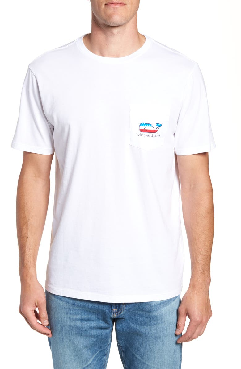 VINEYARD VINES Whaley USA Whale Fill Pocket T-Shirt, Main, color, 100