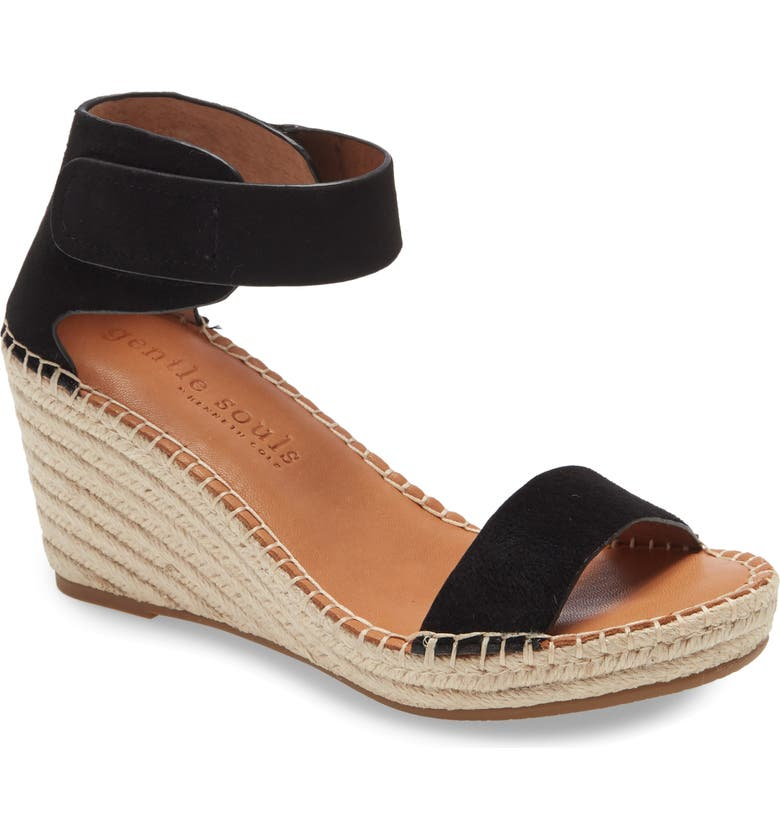 GENTLE SOULS BY KENNETH COLE Charli Wedge Sandal, Main, color, BLACK SUEDE