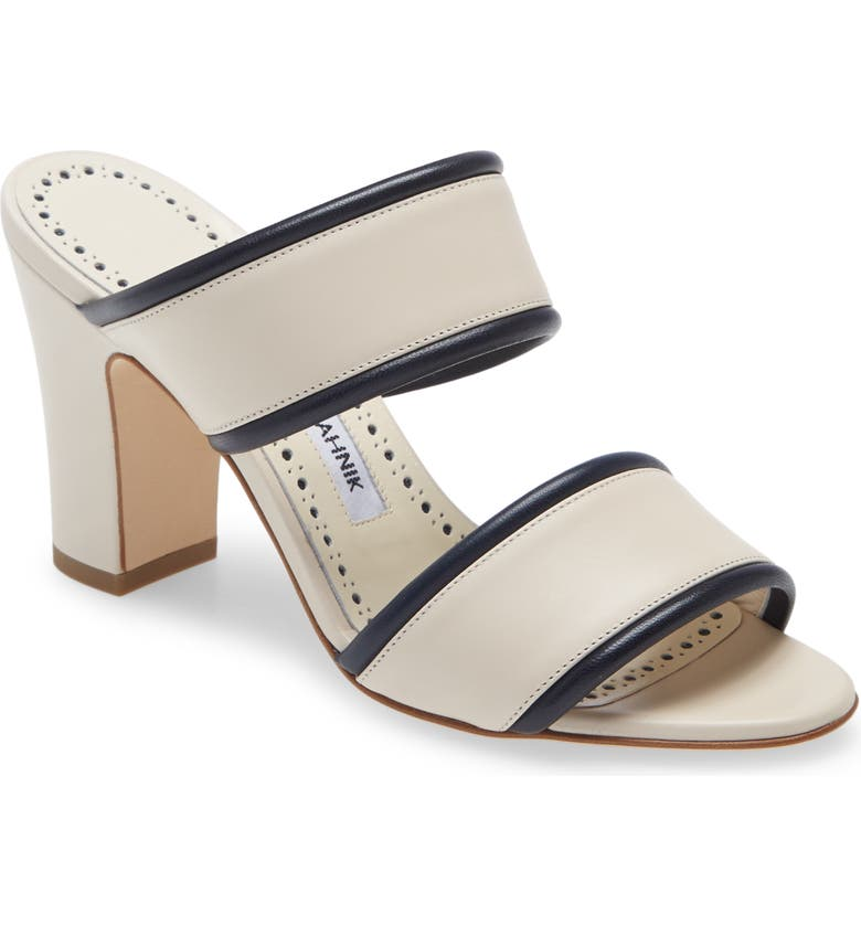 MANOLO BLAHNIK Arpaga Slide Sandal, Main, color, DARK CREAM/ NAVY
