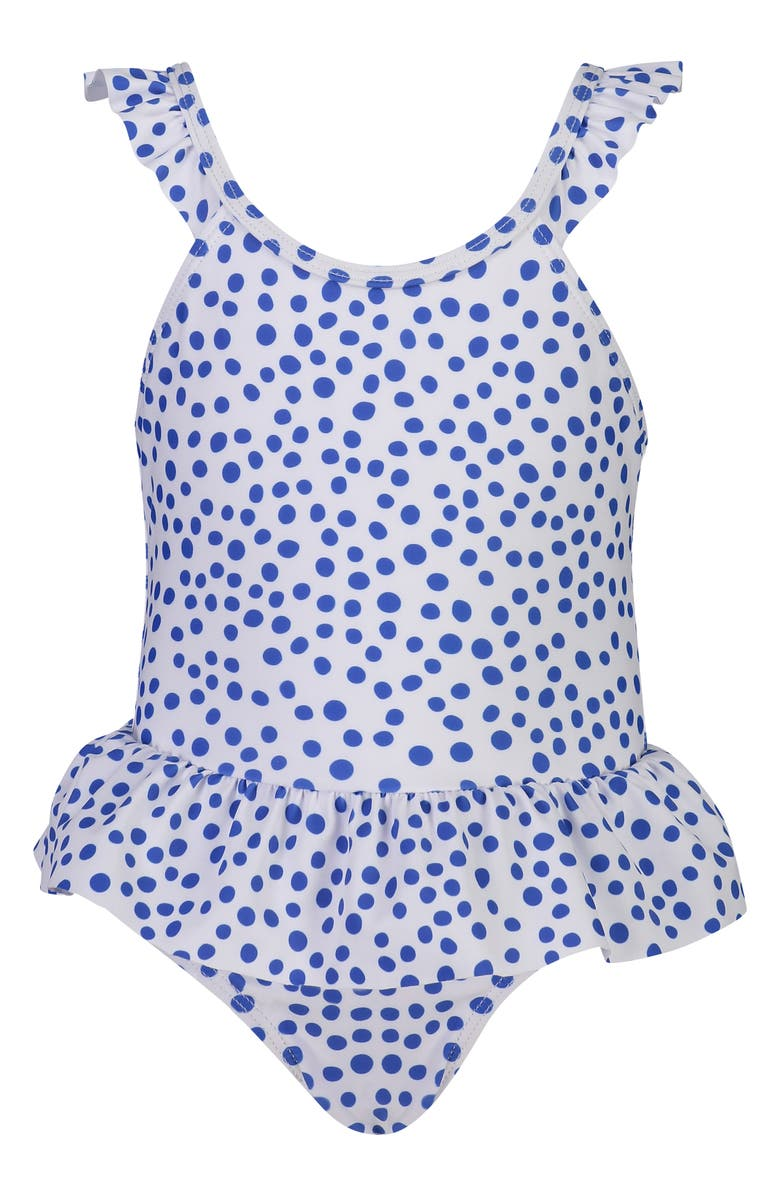 SNAPPER ROCK Skirted Polka Dot One-Piece Swimsuit, Main, color, BLUE/ WHITE