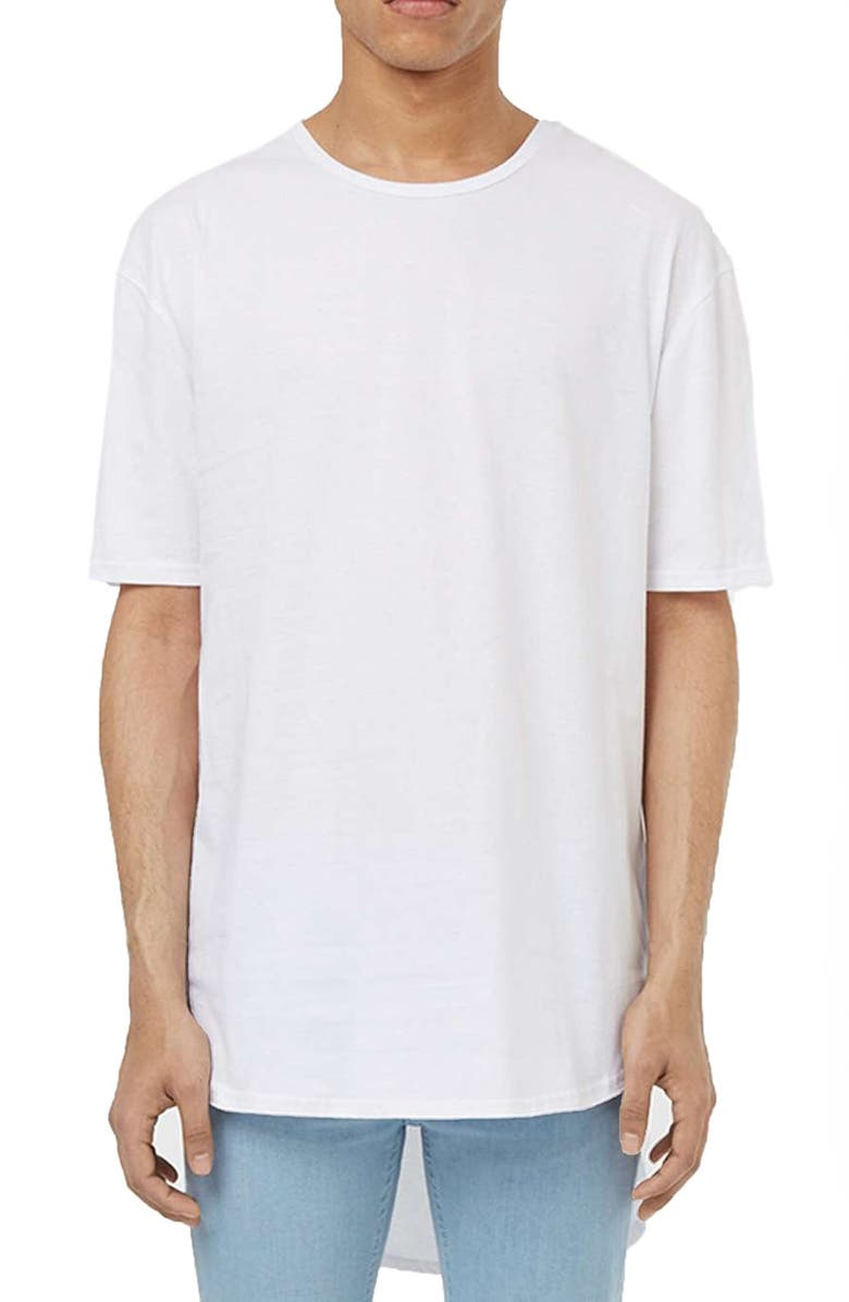 TOPMAN Longline Crewneck T-Shirt, Main, color, 100