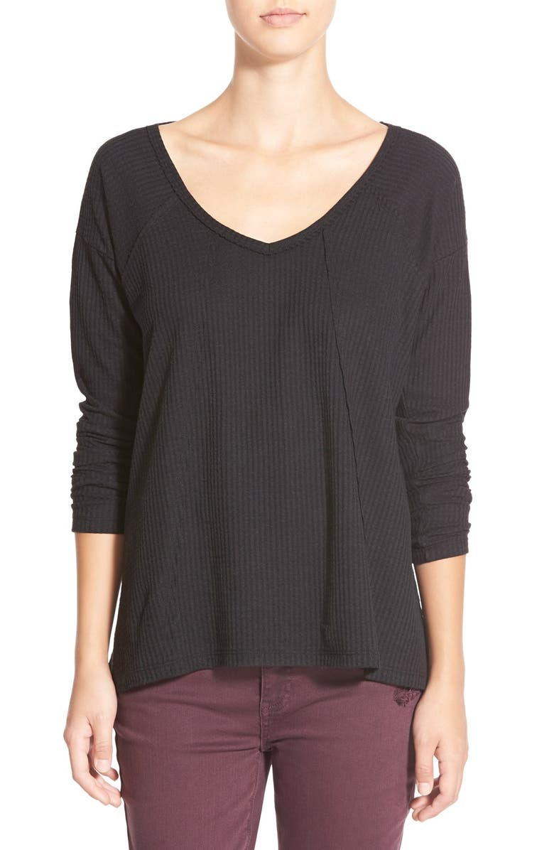 SUN & SHADOW V-Neck Thermal Swing Top, Main, color, Black