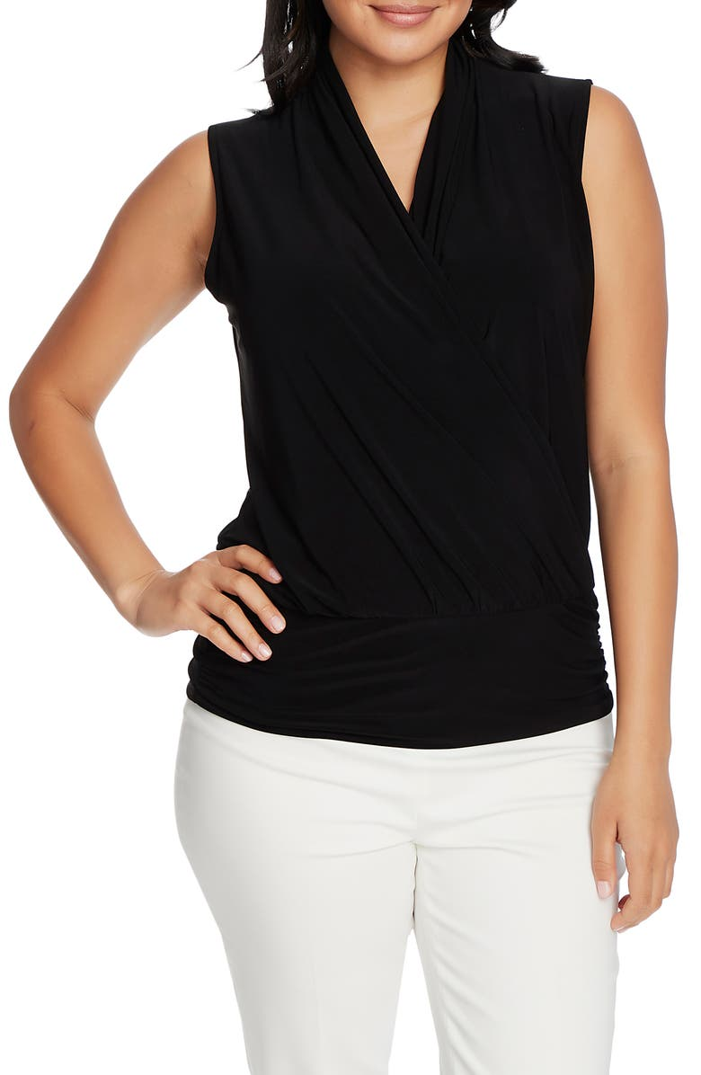 CHAUS Sleeveless Faux Wrap Top, Main, color, 001