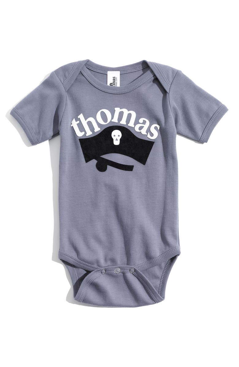 TWO TINAS Personalized Bodysuit, Main, color, SLATE