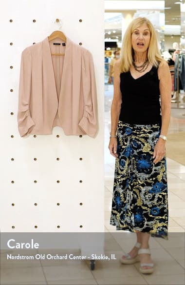 Open Ruched Sleeve Crepe Blazer, sales video thumbnail