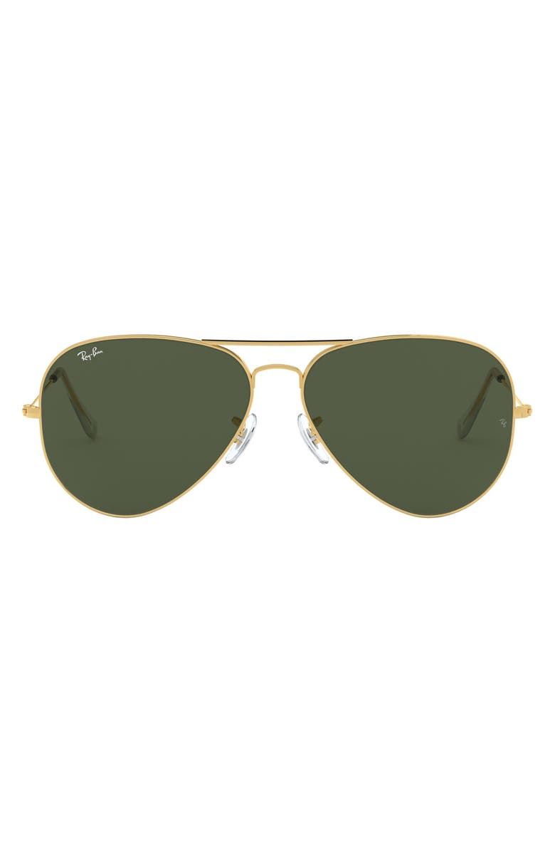 RAY-BAN 62mm Aviator Sunglasses, Main, color, GOLD/ GREEN SOLID