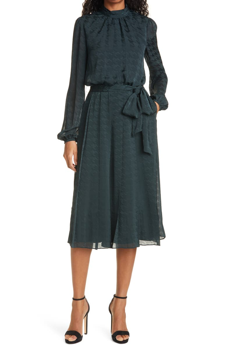 TED BAKER LONDON Wilmer Houndstooth Long Sleeve Dress, Main, color, DK-GREEN