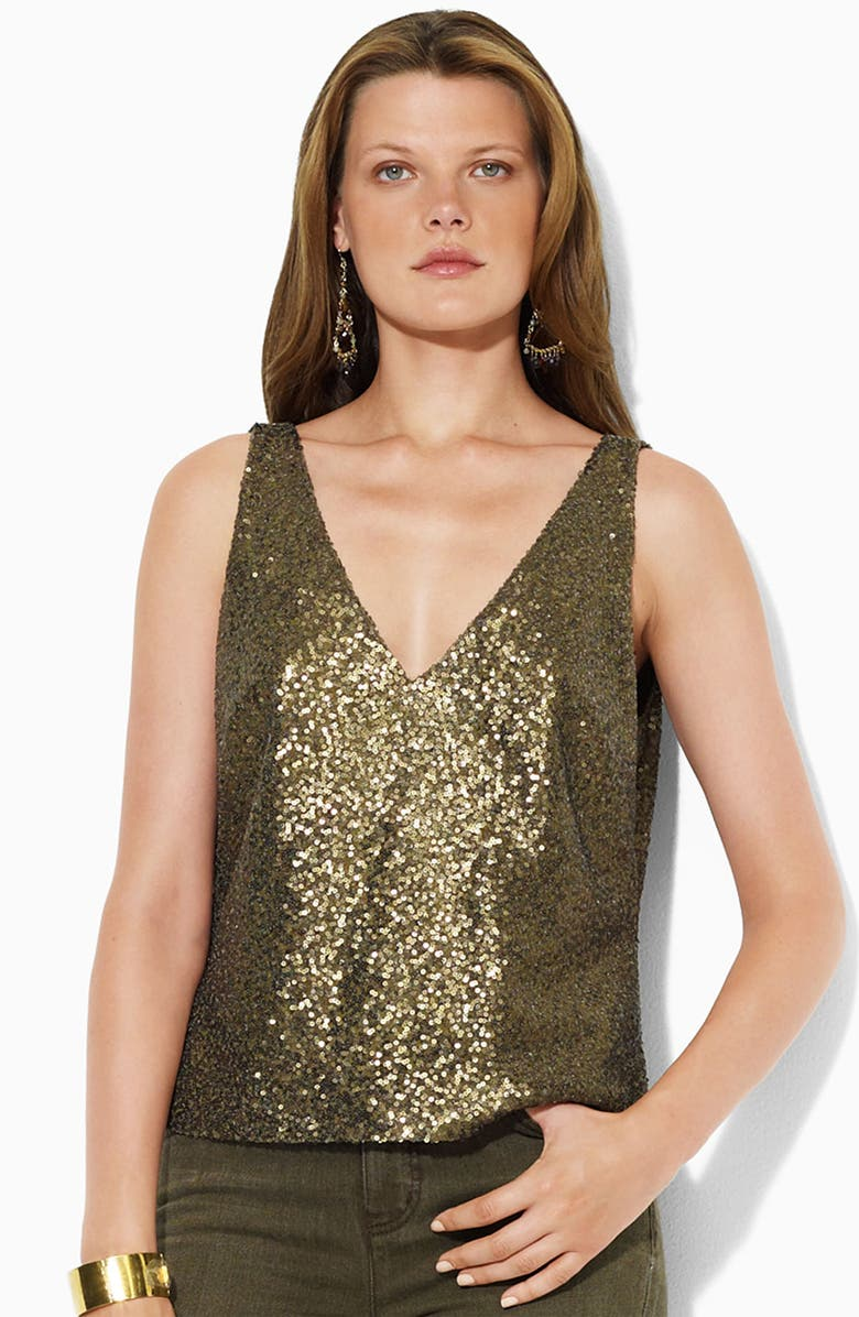 LAUREN RALPH LAUREN Lauren by Ralph Lauren Sleeveless Sequin Top, Main, color, OLIVE