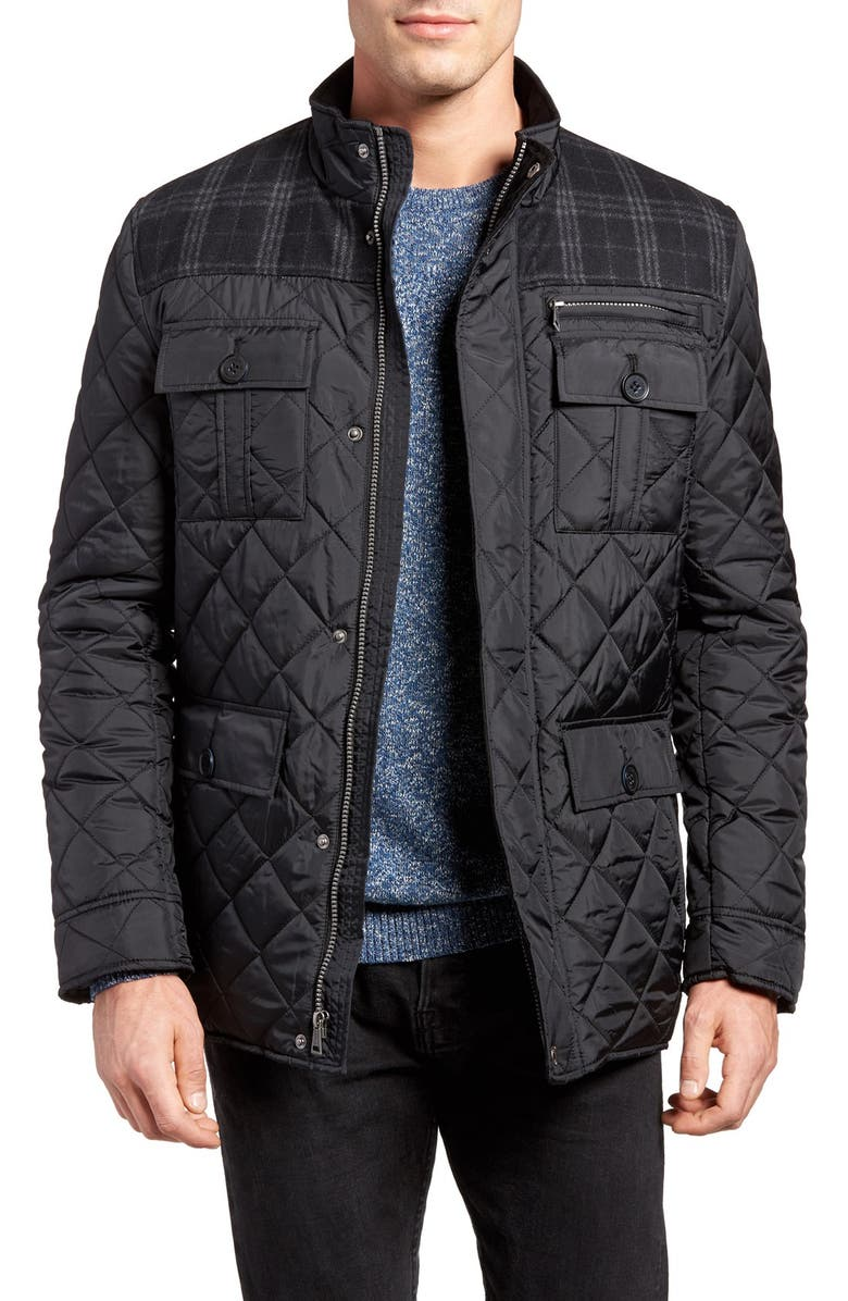 COLE HAAN Mixed Media Quilted Jacket, Main, color, 001