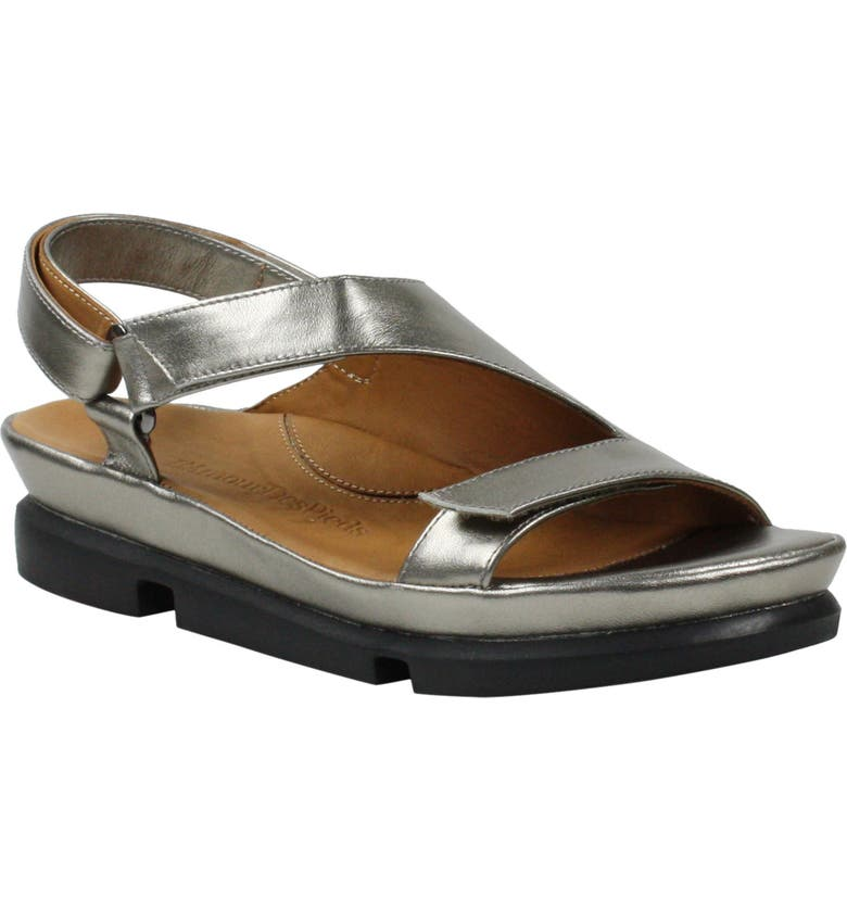 L'AMOUR DES PIEDS Villarmosa Sandal, Main, color, PEWTER METALLIC NAPPA LEATHER