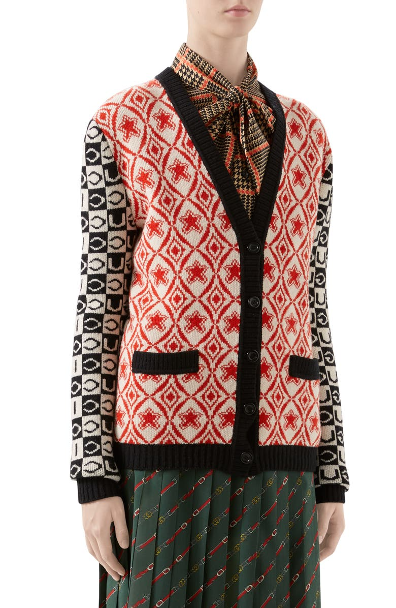 GUCCI Checkerboard Jacquard Wool Cardigan, Main, color, 644