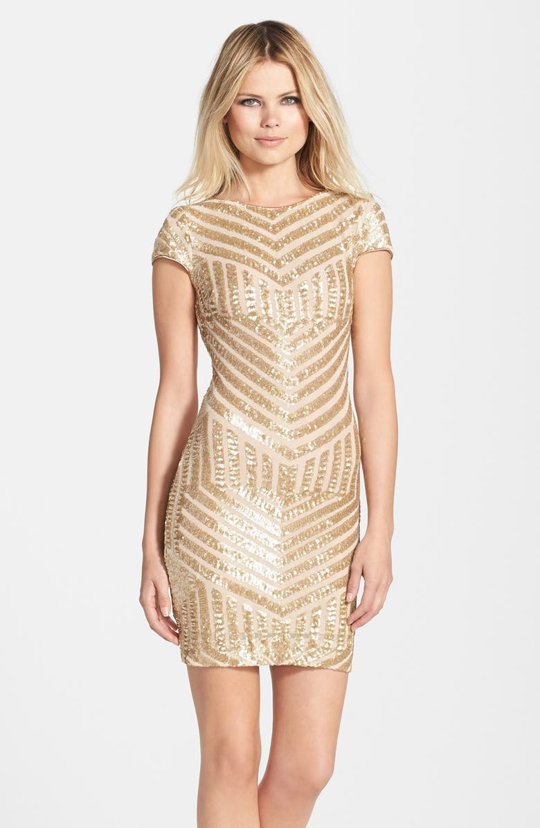 DRESS THE POPULATION Tabitha Sequin Minidress, Main, color, BRUSHED GOLD