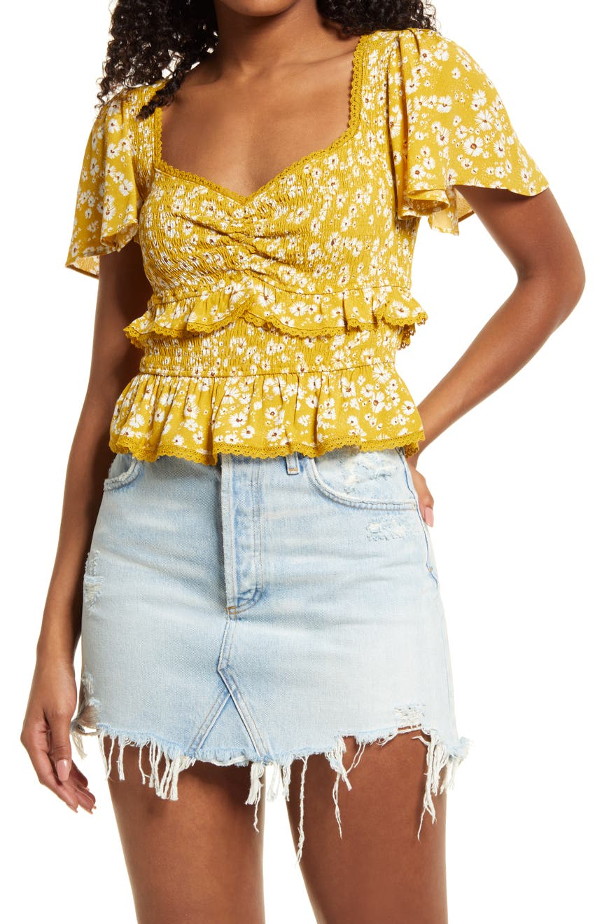 ASTR THE LABEL Floral Smock Waist Ruffle Top, Main, color, MUSTARD DAISY