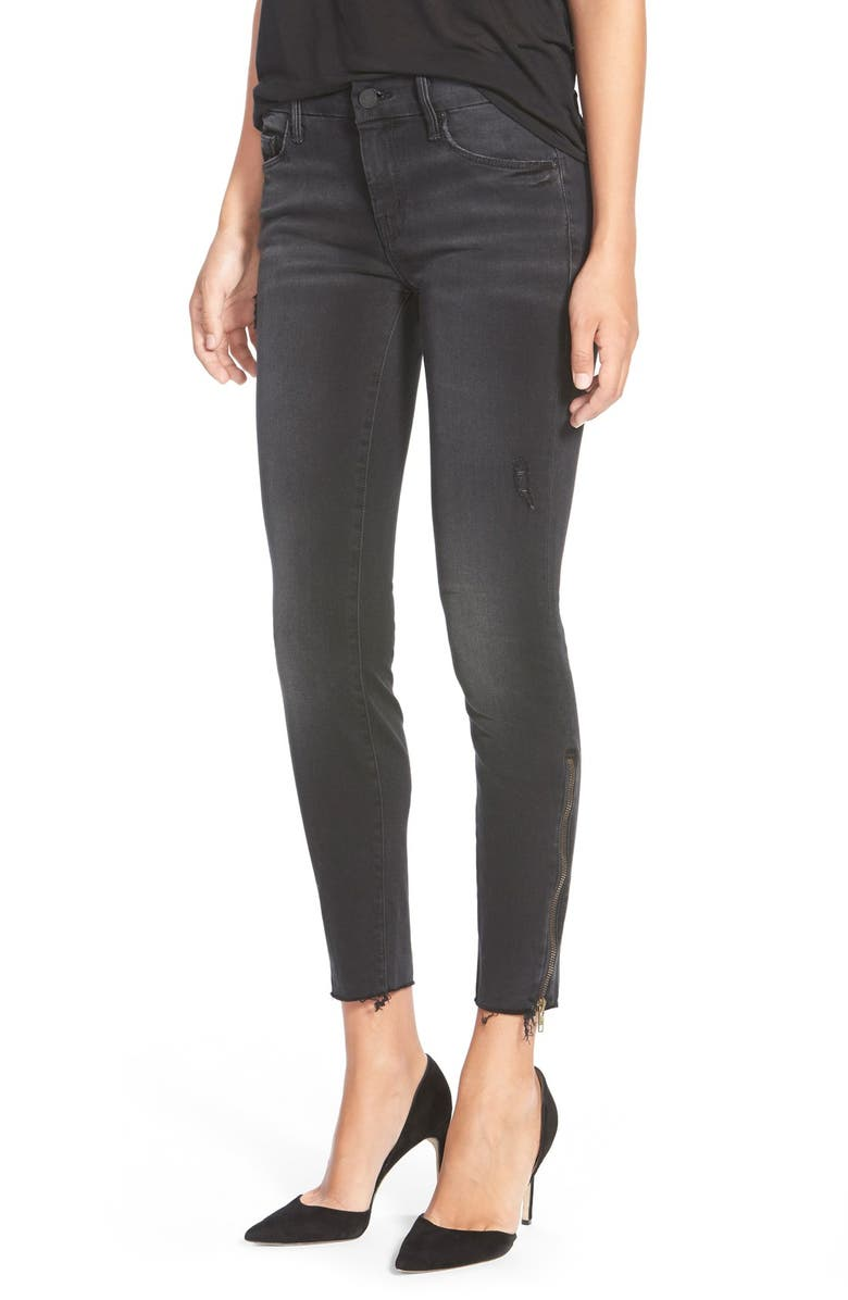 MOTHER 'The Looker' Frayed Ankle Jeans, Main, color, WAIT UNTIL DARK