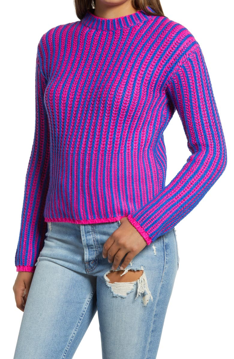 ENDLESS ROSE Stripe Mix Color Sweater, Main, color, PINK BLUE COMBO