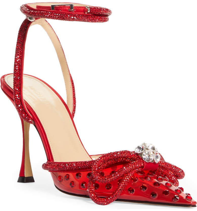 MACH & MACH Double Crystal Bow Pointed Toe Pump, Main, color, RED