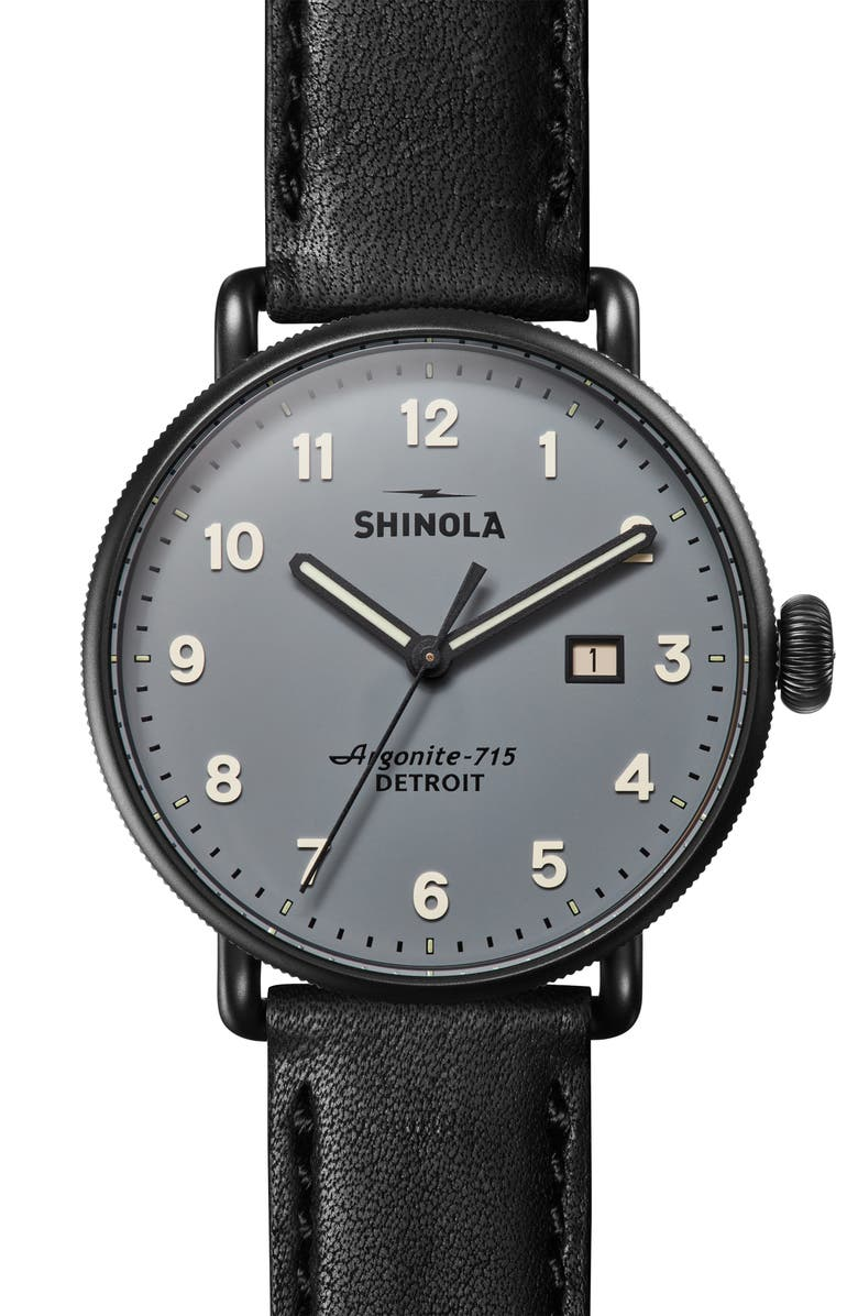 SHINOLA The Canfield Leather Strap Watch, 43mm, Main, color, 000