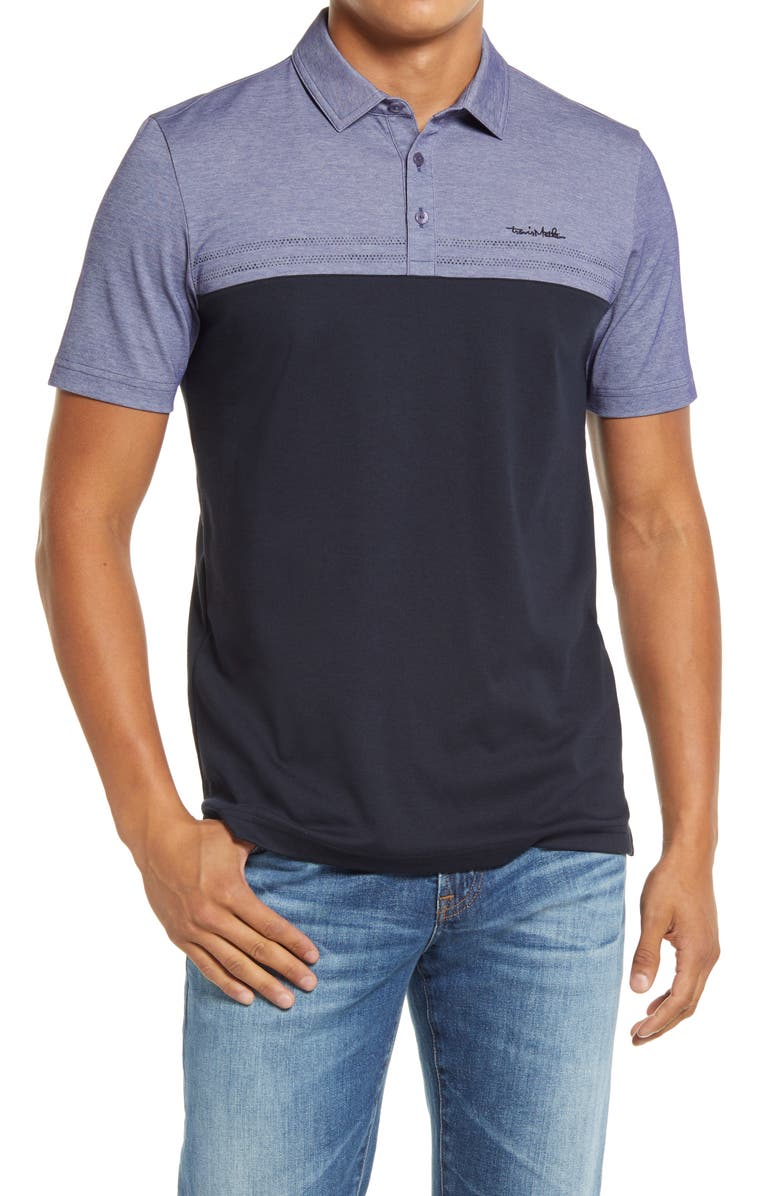 TRAVISMATHEW Old Fashioned Colorblock Piqué Polo, Main, color, 001