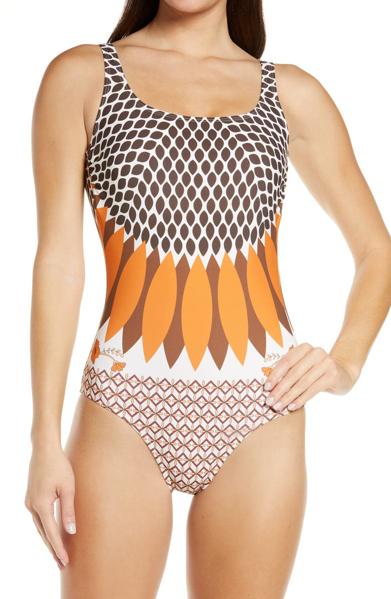 TORY BURCH Printed Tank Swimsuit, Main, color, GIVERNY ENGINEER