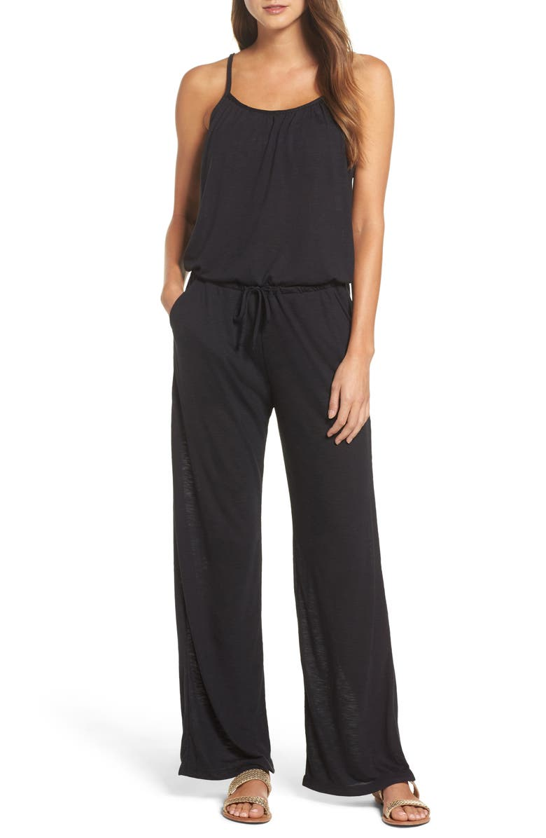 BECCA Breezy Basics Jumpsuit, Main, color, BLACK