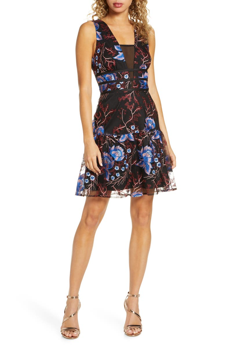 HARLYN Embroidered Fit & Flare Cocktail Dress, Main, color, 001