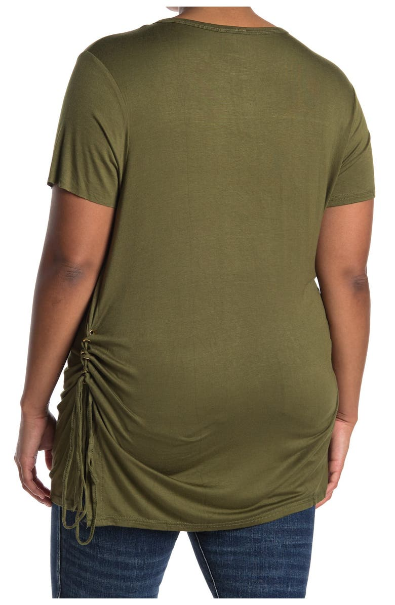 FORGOTTEN GRACE Side Tie Tunic Blouse, Main, color, OLIVE