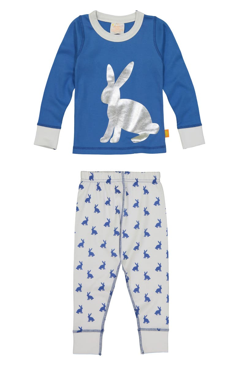 MASALA BABY Bunny Hop Fitted Two-Piece Pajamas, Main, color, Blue