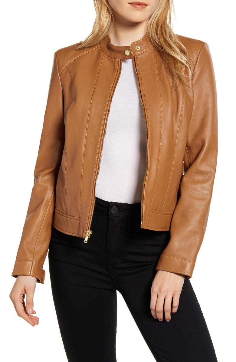 COLE HAAN SIGNATURE Lambskin Leather Jacket, Main, color, 200