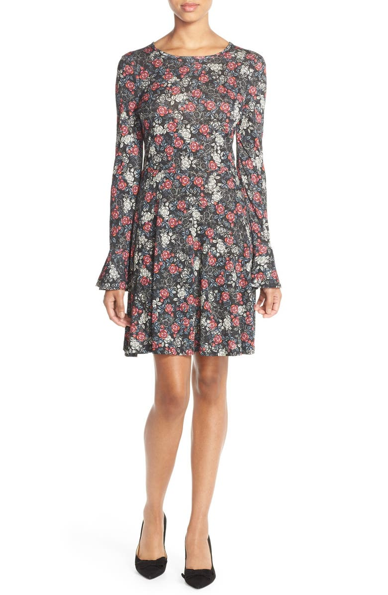 FRENCH CONNECTION Floral Print Jersey A-Line Dress, Main, color, 008