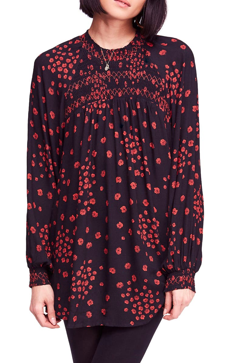 FREE PEOPLE Flowers in Her Hair Smock Detail Tunic Top, Main, color, 001
