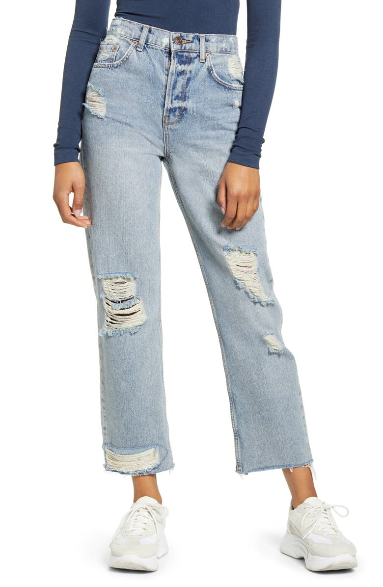 BDG URBAN OUTFITTERS Jackson Ripped High Waist Straight Leg Jeans, Main, color, 400