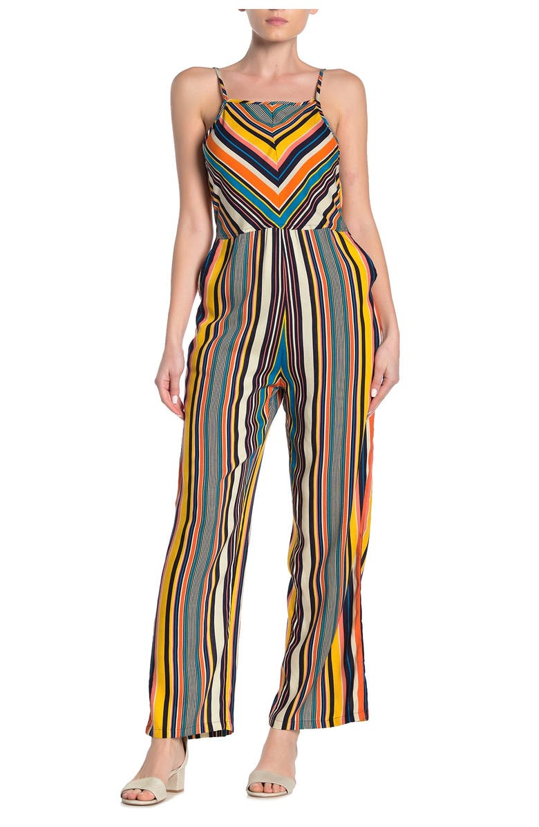 ANGIE Multicolored Striped Sleeveless Jumpsuit, Main, color, MULTI