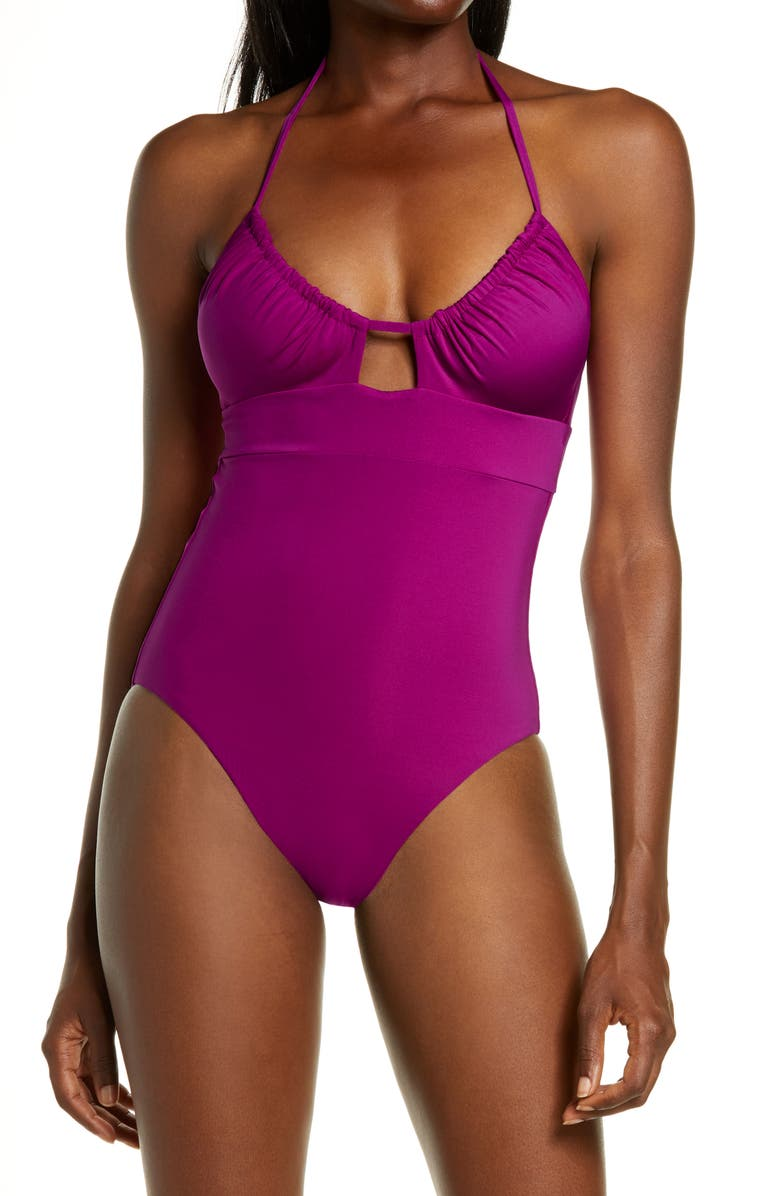 BECCA Color Code Candice Convertible One-Piece Swimsuit, Main, color, BERRY