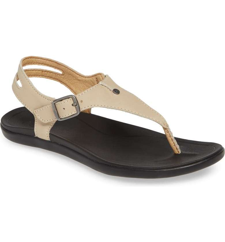 OLUKAI 'Eheu V-Strap Sandal, Main, color, TAPA/ BLACK LEATHER