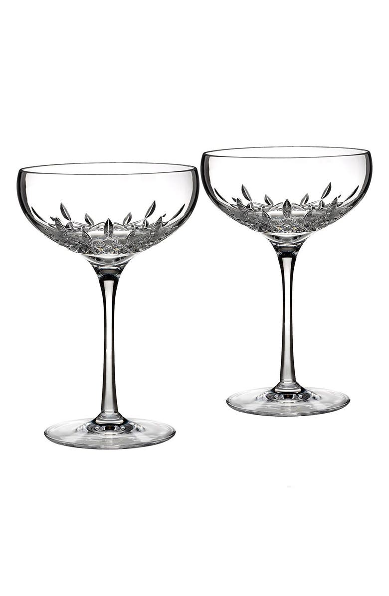 WATERFORD Lismore Essence Set of 2 Lead Crystal Champagne Saucers, Main, color, 100