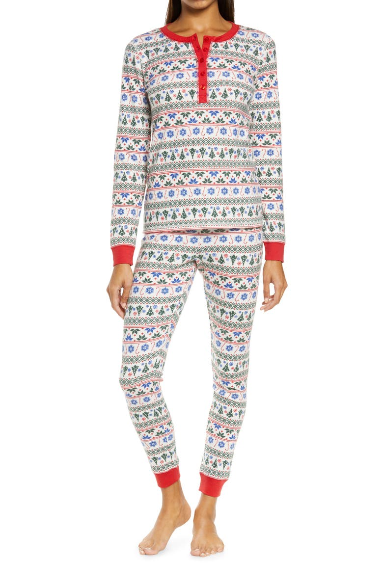 NORDSTROM Fam Jam Two-Piece Thermal Pajamas, Main, color, WHITE MULTI FAIRISLE