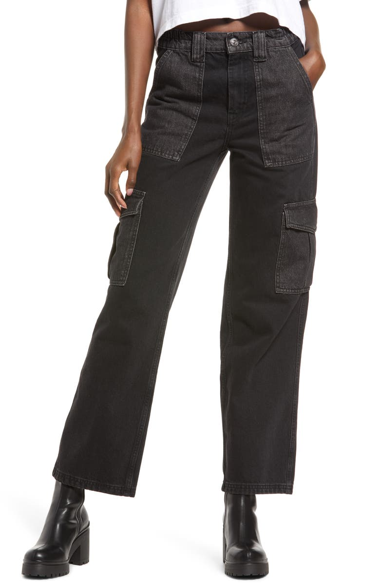 BDG URBAN OUTFITTERS Patchwork High Waist Straight Leg Jeans, Main, color, BLACK