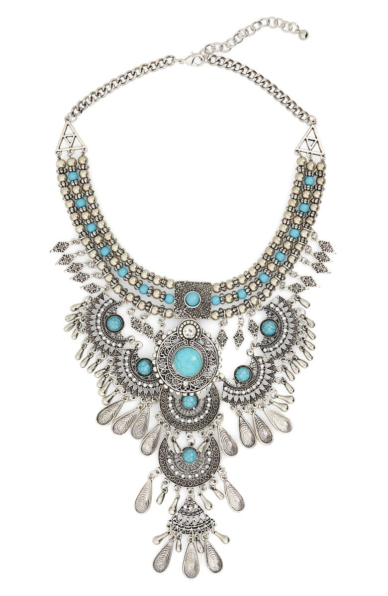 BP. Western Bib Necklace, Main, color, SILVER/ TURQUOISE