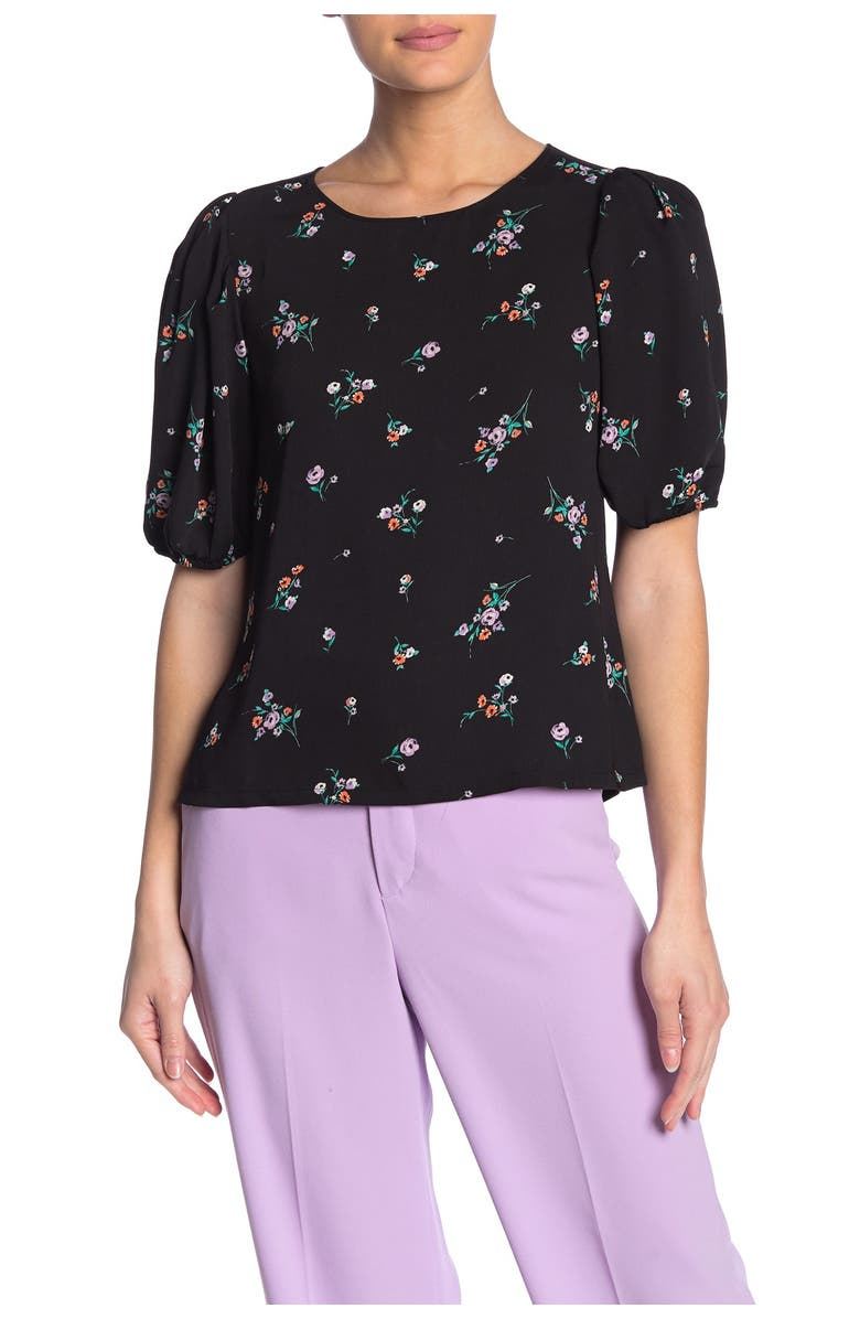 ELODIE Crew Neck Puff Elbow Sleeve Top, Main, color, BLK FLORAL