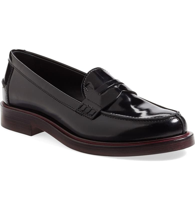 TOD'S Leather Penny Loafer, Main, color, 001