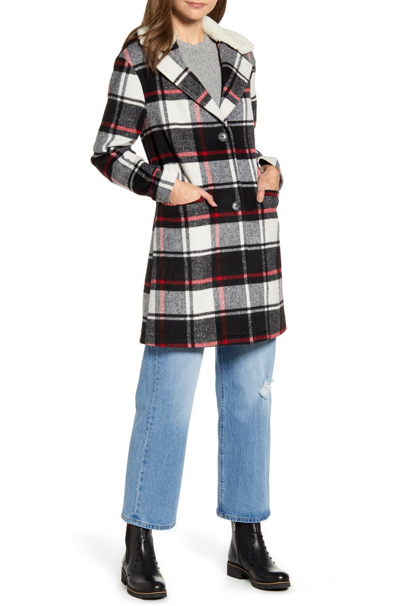 LEVI'S<SUP>®</SUP> Wool Top Coat with Faux Shearling Collar, Main, color, 002