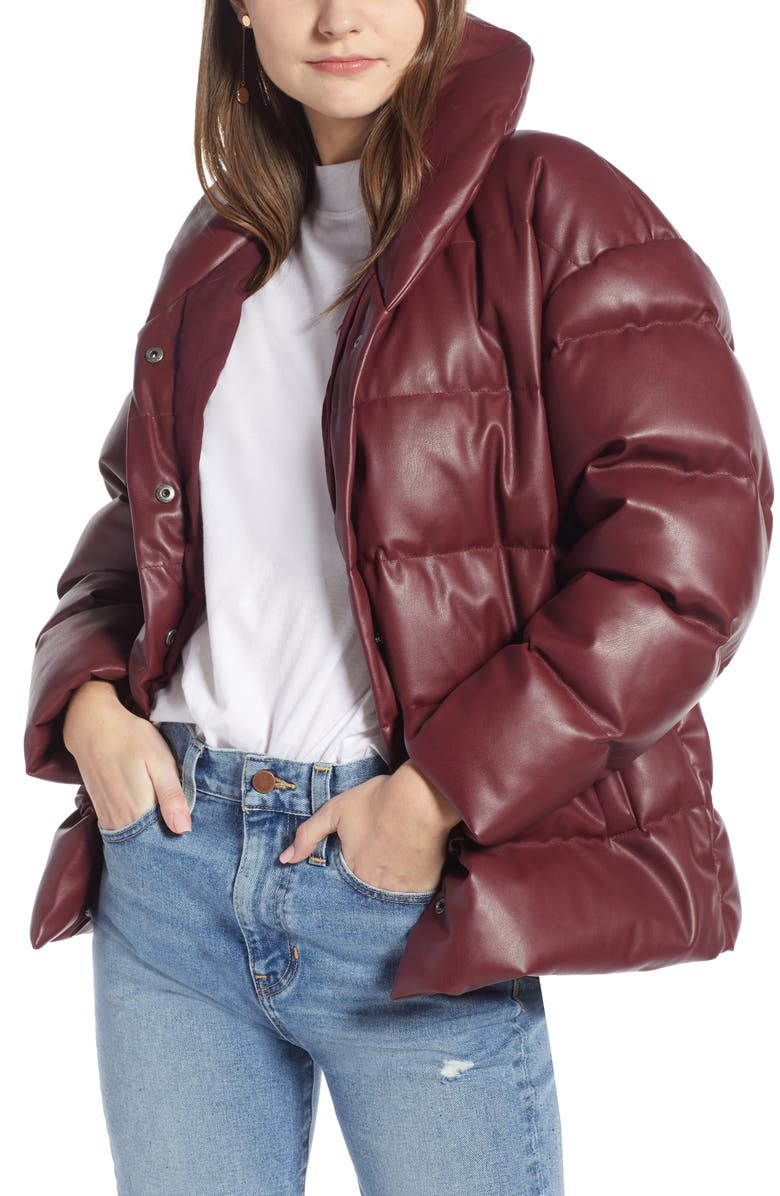 SOMETHING NAVY Faux Leather Puffer Coat, Main, color, RED TANNIN