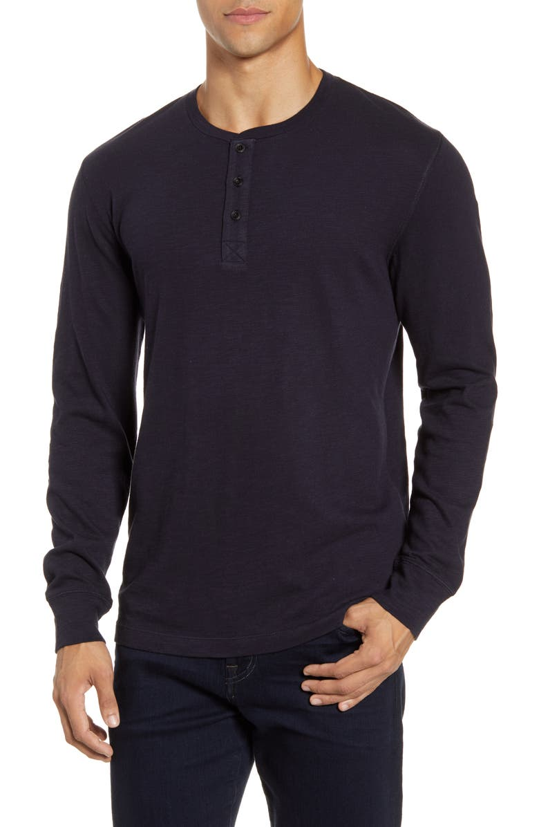 FRENCH CONNECTION Long Sleeve Slub Henley, Main, color, UTILITY BLUE