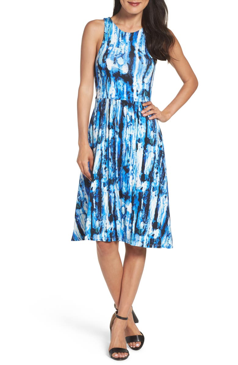 FELICITY & COCO Print Fit & Flare Dress, Main, color, 420
