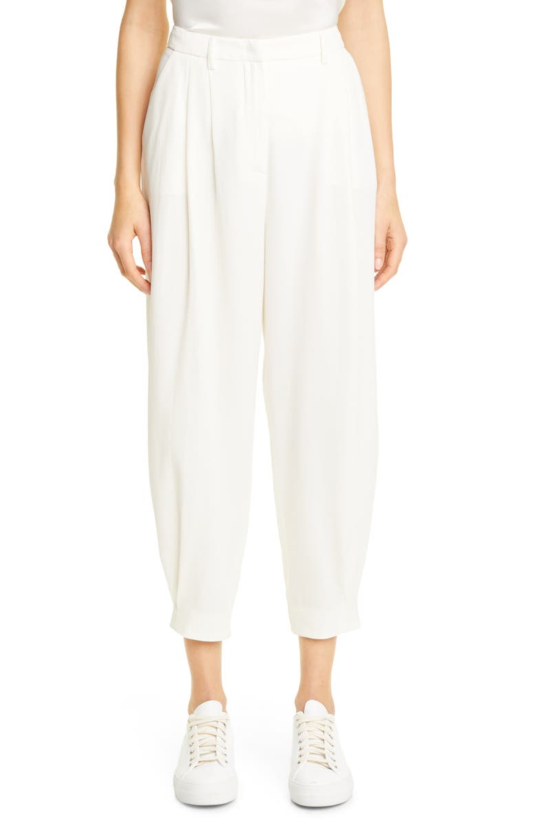 FABIANA FILIPPI Fluid Stretch Wool Blend Slouch Pants, Main, color, White