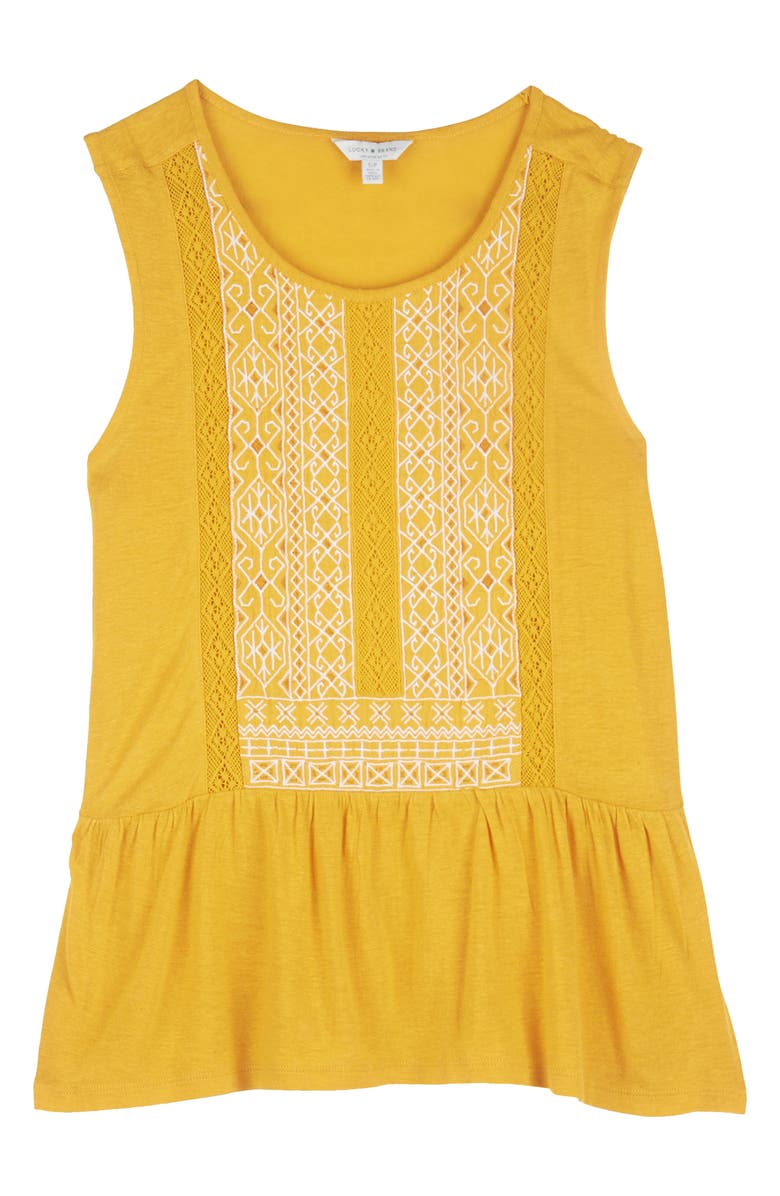 LUCKY BRAND Embroidered Peplum Top, Main, color, GOLDEN GLOW MULTI