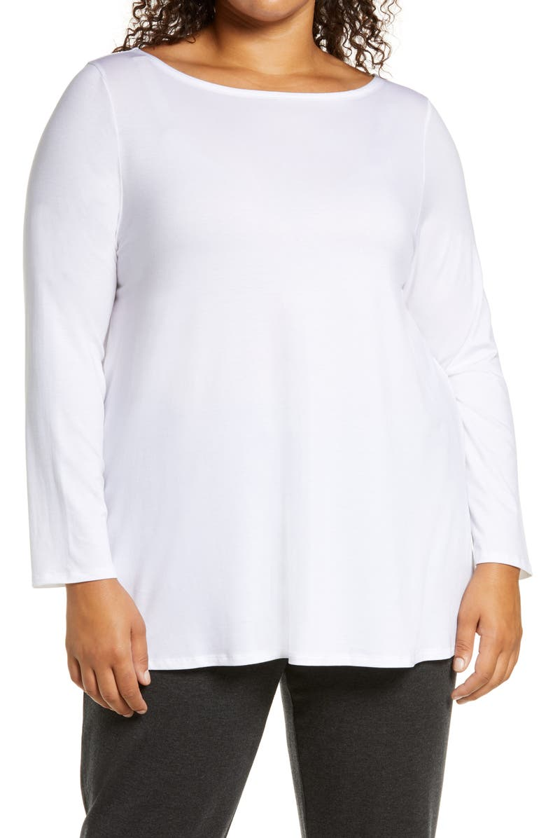 EILEEN FISHER Bateau Neck Tunic, Main, color, WHITE
