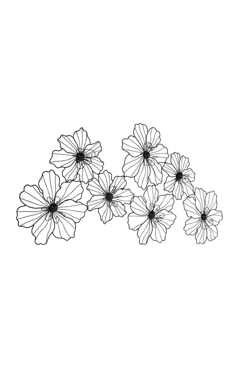 COSMO BY COSMOPOLITAN Large Modern Black Flower Sculpture Metal Wall Decor, Main, color, BLACK